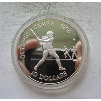 Белиз 10 долларов 1996 Олимпийские игры В Атланте 1996 - серебро, нечастая! Y
