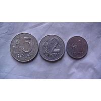 Литва, 5, 2, 1 Centu 1991г. распродажа