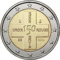 2 евро 2014 Бельгия 150 лет Красному Кресту Бельгии UNC из ролла