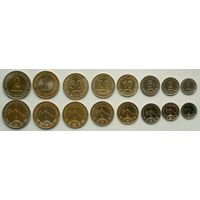 Туркмения. Набор из 8 монет 1, 2, 5, 10, 20, 50 тенге - 1 и 2 маната 2009 - 2010 год