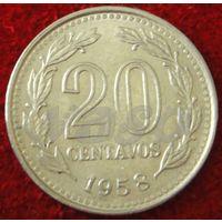 7358:  20 сентаво 1958 Аргентина КМ# 55 никель