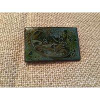 Брошь Коллекционная Эмалевая роспись на меди Англия