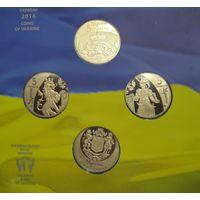Украина. 5 гривен 2016 г. 25 лет независимости. Набор из 4 монет. UNC.