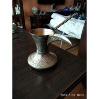 Старая металлическая турка с ручкой ручная работа резьба по металлу, серебрение КАТАР.