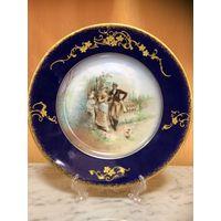 Антикварная , французская , декоративная тарелка .