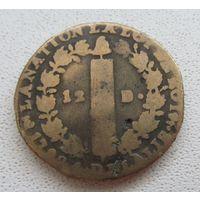 Распродажа! Франция 12 денье 1792 РЕДКАЯ Все монеты с 1 рубля!!!