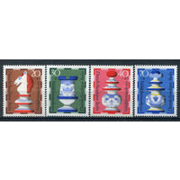 Берлин - 1972г. - Шахматные фигуры - полная серия, MNH, одна марка с отпечатком [Mi 435-438] - 4 марки