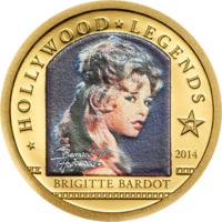 "Острова Кука 1 доллар 2014г. ""Легенды Голливуда: Брижит Бардо"".  Монета в капсуле; сертификат. ЗОЛОТО 0,5гр."