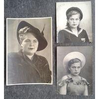 Три фото одной женщины. 1943-46 г. 8х9, 8х11.5, 11х16 см.