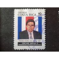 Коста-Рика 1987 президент страны на фоне флага
