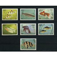 Кампучия 1985г, аквариумные рыбки, 7шт