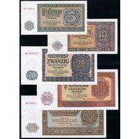 ГДР. Полный комплект 1955 года, 5-100 Марок. P17-21, UNC