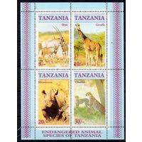 Фауна Дикие животные Танзания 1986 год 1 чистый блок из 4-х марок