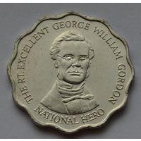 Ямайка 10 долларов, 2000 г. (Форма-круг с волнообразным краем).