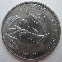 Канада 25 центов 2017 г. 150 лет Конфедерации Канада. Надежда на зелёное будущее