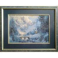 Картина ,,Зима в горах,,гобелен ручной работы.