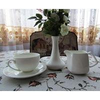 Набор посуды для чая ,кофе . Чашка , блюдце , сливочник , вазочка .  Wilmax England