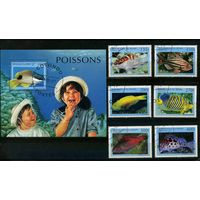 Бенин 1997г, аквариумные рыбки, 6м. 1 блок