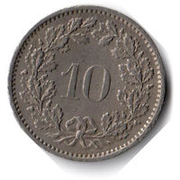 Швейцария. 10 раппенов. 1974 г.