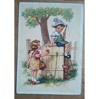 """""""Скушай яблочко"""". Дети. Германия. 1950-е. Подписана"""