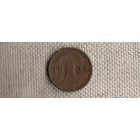 Германия 1 пфенниг 1924 J рейхспфенниг(Ab)