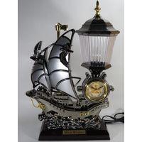 Большие Интерьерные Часы со Светильником, Корабль, Парусник