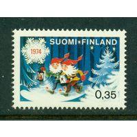 Финляндия 1974 ** Рождество. Бумага флюр