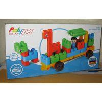 Детский развивающий конструктор Poly-M (Hape, Германия) оригинальной системы из мягкого пластика. Набор 760006 Zoo Keeper `n` Cars (40 элементов) Новый, не распечатывался  Возраст: 18+ мес Размер коро