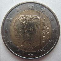 Люксембург 2 евро 2009 г. 90 лет вступления на престол Герцогини Шарлотты