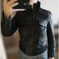Кожаная куртка размер 44/160-164 отличная за симв. цену