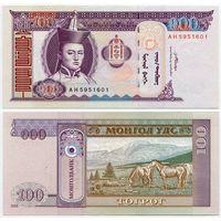Монголия. 100 тугрик (образца 2008 года, P65b, UNC)