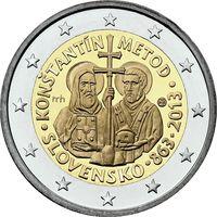 2 евро Словакия 2013 1150 лет миссии Кирилла и Мефодия в Великой Моравии UNC из ролла