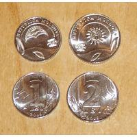 Молдова 2018 1лей + 2лей UNC компл. 2 монеты