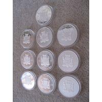 Комплект из десяти монет номиналом 1000 квач. Замбия, 2010 год. Серия: смертельно опасные насекомые.