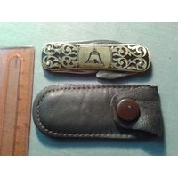 Перочинный, карманный ножик из СССР. В поход или коллекцию! Отличное состояние по фото+ кожаный чехол.