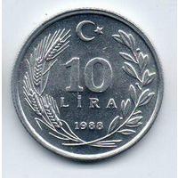 ТУРЕЦКАЯ РЕСПУБЛИКА  10 ЛИР 1988. НЕЧАСТАЯ. UNC.