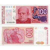 Аргентина. 100 аустралей (образца 1985-90 года, P327c, UNC)