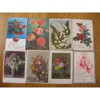 Открытки. Цветы. 60-70-80- ые годы. Розы, ландыши, сирень, букет. С 1 рубля!