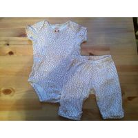 Очаровательная пижамка Carters на 6 месяцев из качественного хлопка. В комплекте бодик и штанишки. На попе игривая киса.