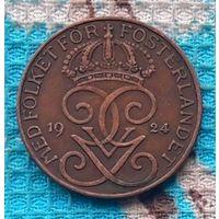 Швеция 5 оре (центов) 1924 года. Три короны. Густав V Адольф. Инвестируй в историю!