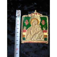 """Иконка старинная"""" Богородица с младенцем """" литьё. Бронза. Эмаль.7х8 см"""