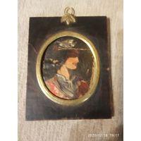 Старинная Портретная миниатюра. Масло  на холсте. Рамка дерево , бронза.
