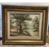 Картина Пейзаж Лес у реки холст Масло Англия подпись художника