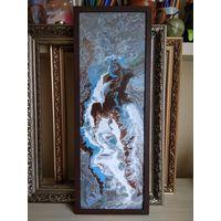 Синяя птица. Жидкий акрил (флюид арт)