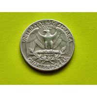 США. 25 центов (квотер, 1/4 доллара) 1969 б/б (Washington Quarter).