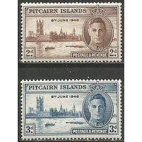 Питкерн. Король Георг VI. Парламент в Лондоне. 1946г. Mi#11-12. Серия.