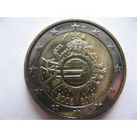 Бельгия 2 евро 2012г. 10 лет евро наличными. (юбилейная) UNC!