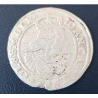 6 Грошей 1665 г. Разновидность с цветком между погоней и орлом