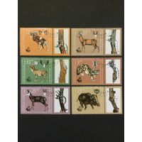 Охота. Болгария,1981, серия 6 марок с купонами