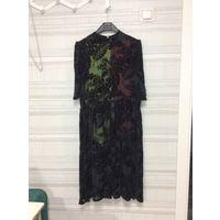 Платье отрезное по талии (панбархат,шёлк 100%) ВИНТАЖ 46-50-52(возможно)р.